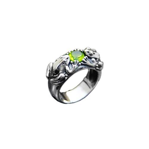 シルバーアクセサリー シルバーリング 指輪 レディース リング カエル・かえる 緑・グリーン r0596 【13号】