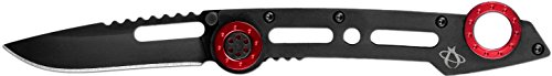 "Mantis Knives T5 ""Monacoe"" High Tech Folding Blades Knife, Black/Red"