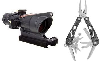 Trijicon Acog 4X32 Scope With Ta51 Mount, Ck-Sniper Gray, Dual Illuminated Red Chevron 100308-Kit1