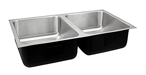 Just UDADA1842A,6.5,DCR 18 Gauge Undermount Double Bowl Ada Stainless Steel Sink