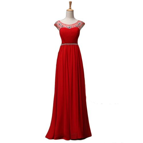 Cloud Shop Pretty Elegant Long Chiffon Crystal Maxi Evening Dress C217 (12, Red)