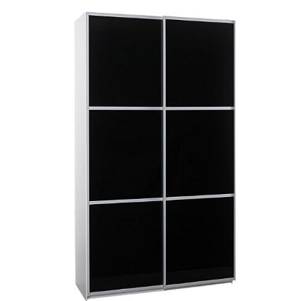 FTG 120Cm Sliding Glass Doors Modern Wardrobe Black