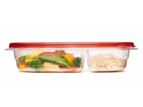 Rubbermaid TakeAlongs 3.7-Cup Divided Rectangle Containers, Pack of 3
