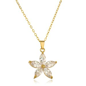 JOTW Gold Filled Clear Stoned Flower Pendant with an 18 Inch Link Necklace