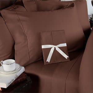Italian 600 Thread Count Egyptian Cotton Duvet Cover Set , Queen, Chocolate, Premium Italian Finish front-1001595