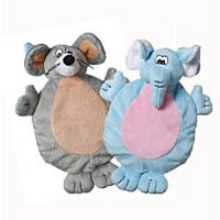 Multipet 2-Faced Crinkle/Plush Dog Toys with Elephant/Mouse Faces