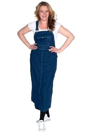 Denim Dress on Amazon Com  Womens Bib Overall Dress   Denim Blue Ladies Long Bib