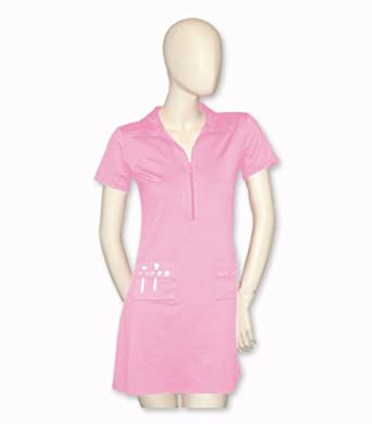 Titania Golf Ladies Moisture Wicking Golf Dress in Soft Pink with Rhinestone Pattern by Titania Golf