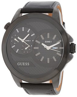 Guess Men'S U0184G1 Dual Time Zone Black Leather Watch