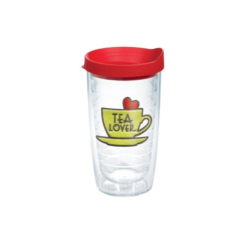 Tervis Tumbler With Red Lid, 16-Ounce, Tea Lover