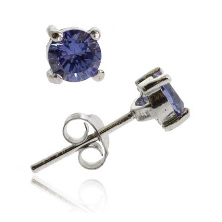 Sterling Silver .925 Tanzanite cz stone 5mm round circle stud Earrings