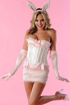 Velvet Kitten Bunny Costume in White / Pink