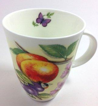Roy Kirkham Fine Bone China Louise Style Mug Fruit & Flowers (With Butterfly & Ladybird)