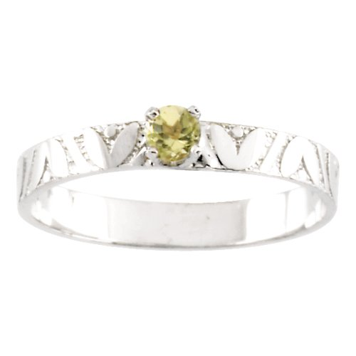 14K White Gold 3 MM Peridot Children's Ring