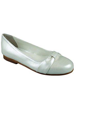 scarpe da sposa scarpe ragazza perlato greggi pelle marrone fiocco pia - Crudo - P-25