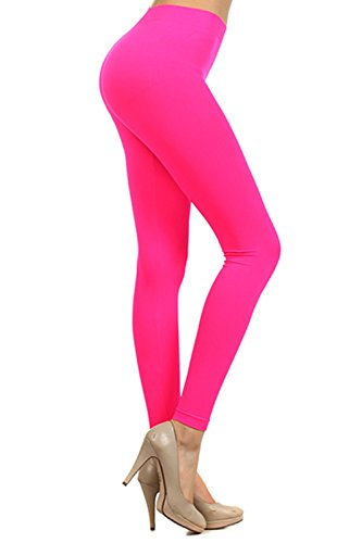 Neon Colored Seamless Full Length Leggings Stretchy Pants Athletic