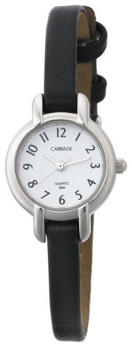 Carriage by Timex Women's C7A211 Silver Tone Round Case White Dial Black Croco Strap Watch