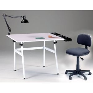 Martin Berkley 4-Piece Combo Drawing Art, Drafting,Craft Table with White Top, Stand Lamp and Height Chair