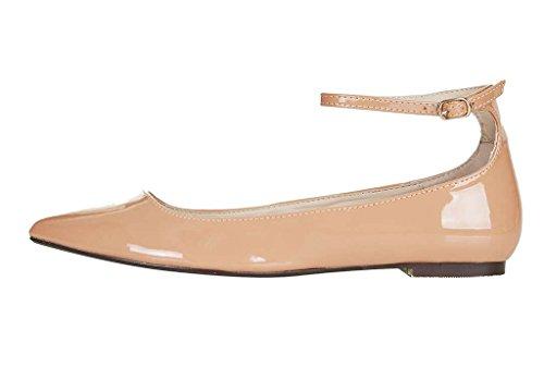 Guoar Women's Ballet Flats Big Size Ladies Shoes Ankle Strap Closed-toe Pumps Shoes Nude US 13