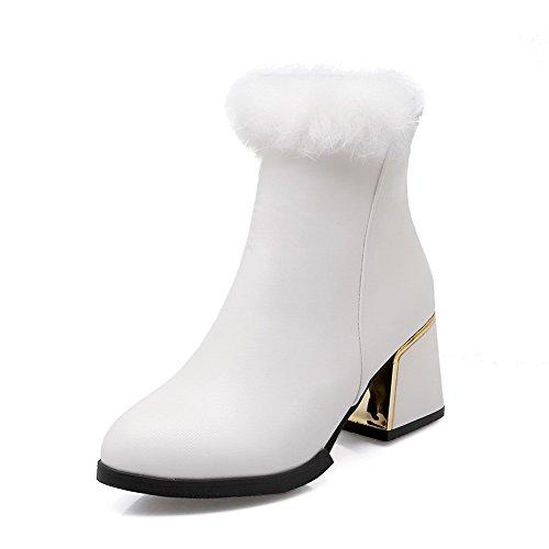AgooLar Donna Punta Tonda Tacco Medio Bassa Altezza Puro Stivali, Bianco, 39