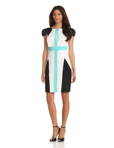 Jax Women's Cap Sleeve Colorblock Dress, Black/White/Blue, 14