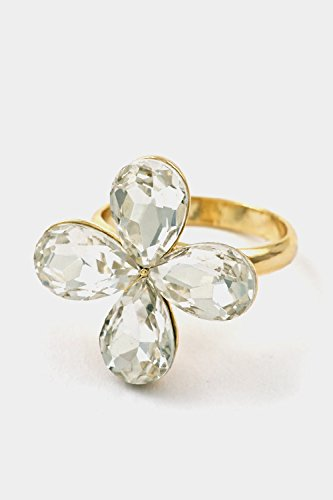 Glitz Finery A Flower Colored Stone Adjustable Ring (Gold/Clear)