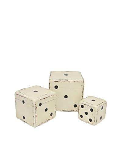 Three Hands Box Set of 3 Wood Dice, White