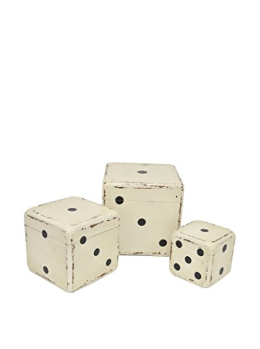 Three Hands Box Set of 3 Wood Dice, White цена и фото