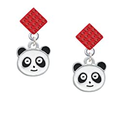 Enamel Panda Face - 2 Sided Red Crystal Diamond Shaped Lulu Post Earrings