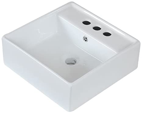American Imaginations 438 Above Counter Square White Ceramic Vessel with 4-Inch Centers