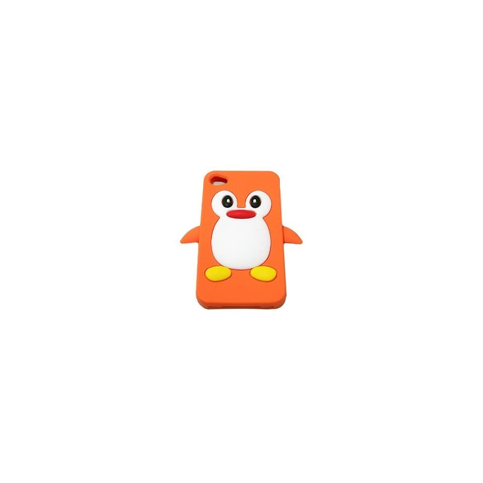 Orange Penguin Design Soft Silicone Skin Gel Cover Case for Verizon At&t Sprint Apple Iphone 4 4s + Lcd Screen Guard + Microfiber Pouch Bag