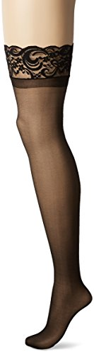 Dreamgirl Women's Sheer Thigh-High Stockings, Black, One Size