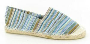 Womens Turquoise Blue multi striped canvas flat espadrilles / pumps NEW