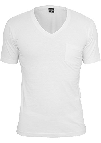 Urban Classics TB497 V-Neck Pocket Tee T-shirt Collo a V Manica Corta Tasca (White, L)
