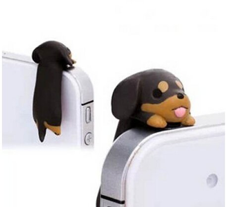 Adorable 6 Kinds Dogs Little Brown Dachshund Greedy Pug Shiba Inu Poodle White Labrador Chihuahua Dog Puppy Dust Plug 3.5mm Smart Cell Mobile Phone Plug Headphone Jack Earphone Cap Ear Cap Dustproof Plug Charm iPhone Plug Charm for iPhone 4 4S 5 5S HT...