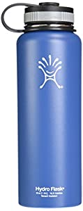Hydro Flask Insulated Stainless Steel Water Bottle, Wide Mouth, 40-Ounce, Everest Blue