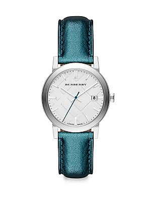 Burberry BU9120 Watch City Ladies - White Dial Stainless Steel Case Quartz Movement Blue One Size