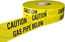 gas pipe below detector tape 150mm x 100m tape. by uksafetysigns.co.uk