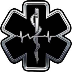 Silver EMT EMS Star Of Life With Heartbeat - 16