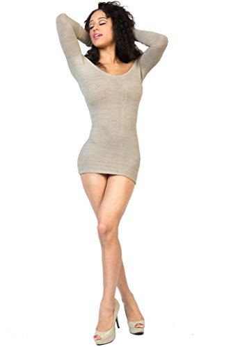 Sexy Oatmeal Mini Dress BodyCon Party Off Shoulder Stretch Knit Warm & Cozy