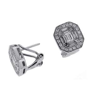 14k White 1.5 Ct Diamond Earrings - JewelryWeb