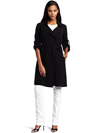 Three Dots Women's Long Sleeve Jacket, Black, Large