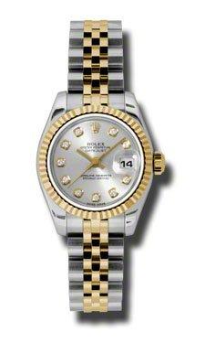 Rolex 18K yellow gold fluted bezel Day Just Ladies Watch