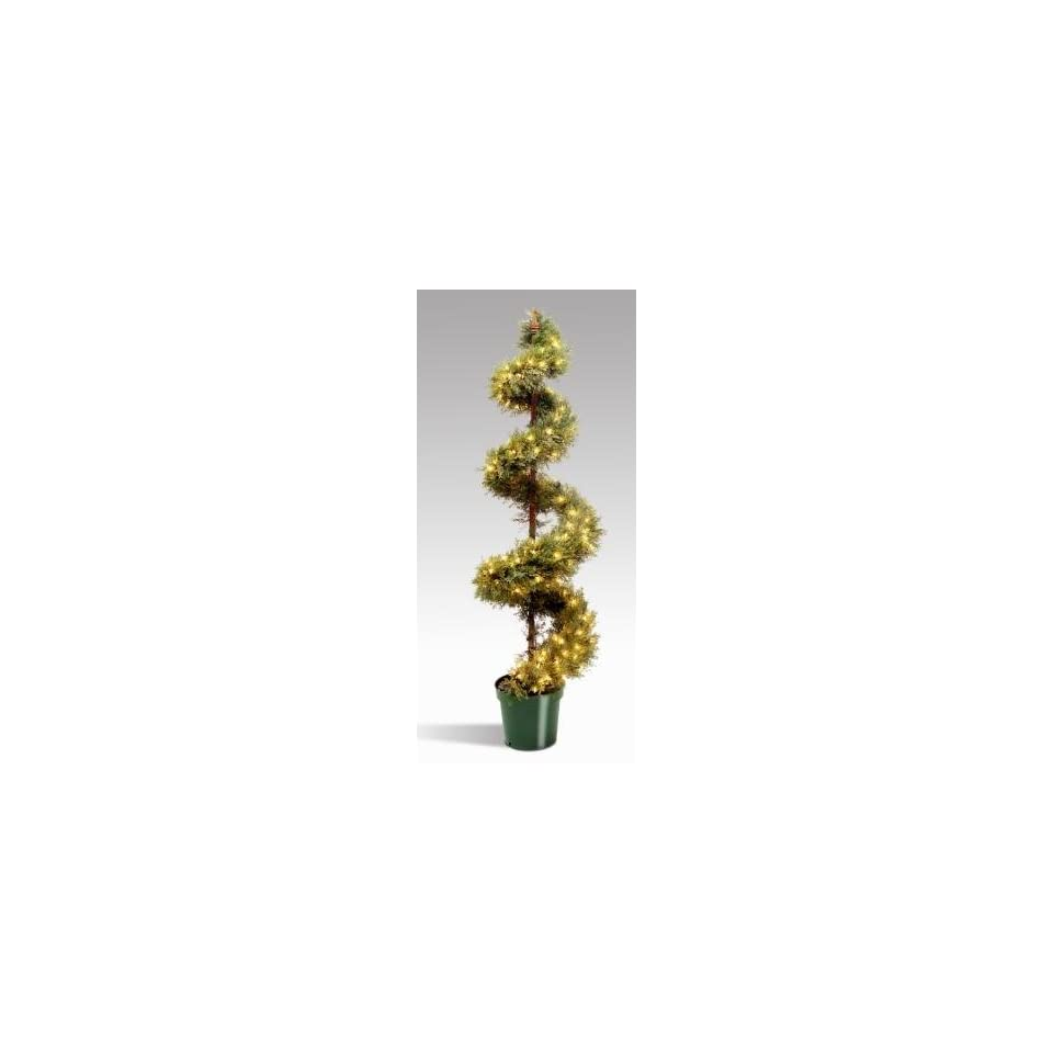 National Tree Company LCYSP 300 72 72 Inch Upright Juniper Slim Spiral Tree With Artificial Natural Trunk with 150 Clear Lights in GreenROund Plastic Pot
