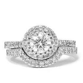 1.00CT Diamond Engagement Matching Wedding Ring