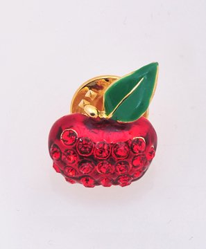 Rhinestone Red Apple with Lone Leaf Tack Pin