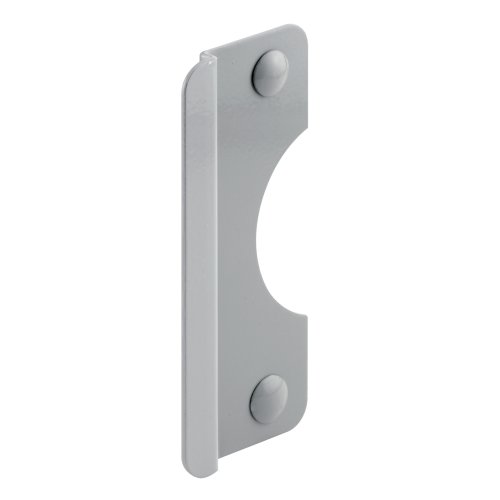 Prime-Line Products U 9509 Latch Shield, 2-5/8 in. x 6 in. With 5/16 in. Offset, Steel, Gray, Outswing Doors