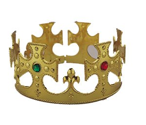 GOLD ADJUSTABLE PLASTIC KING'S CROWN - 1