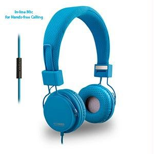 Eco V20 Stereo Headphones With In-Line Mic - Blue - Retail