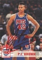 P.J. Brown New Jersey Nets 1994 Hoops Rookie Autographed Hand Signed Trading Card -... by Hall+of+Fame+Memorabilia